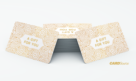 A gift for you, gold plastic gift cards, cardsource