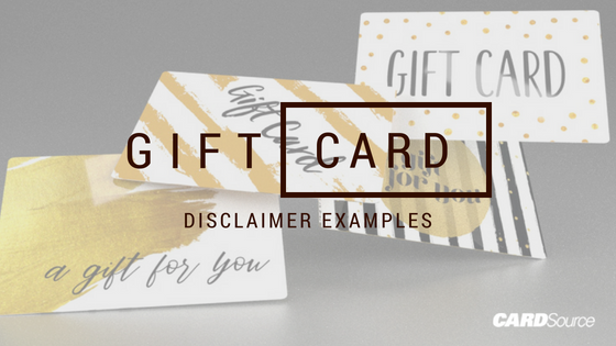 what kind of disclaimer do i need on my gift card